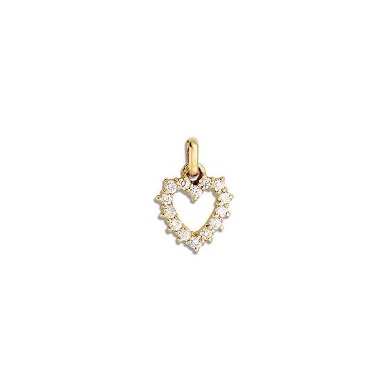 Pendentif coeur d'oxydes Or 9 carats jaune - La Petite Française