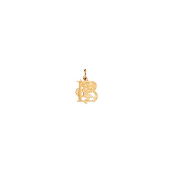 Pendentif ange lettre B Or 9 carats jaune - La Petite Française