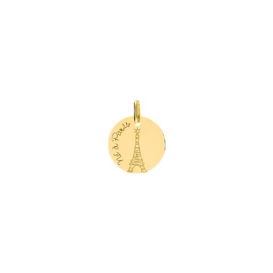 Médaille né à Paris et tour Eiffel Or 9 carats jaune - La Petite Française