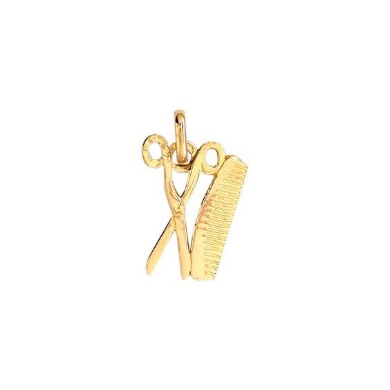 Pendentif ciseaux et peigne Or 9 carats jaune - La Petite Française