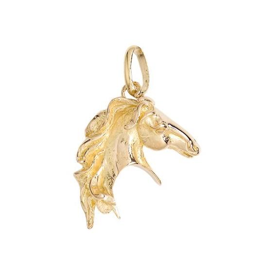 Pendentif tête de cheval Or 9 carats jaune 35 MM - La Petite Française