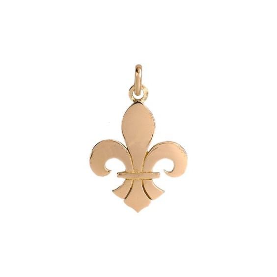 Pendentif Fleur de Lys Or 9 carats jaune - 27 X 18 MM - La Petite Française