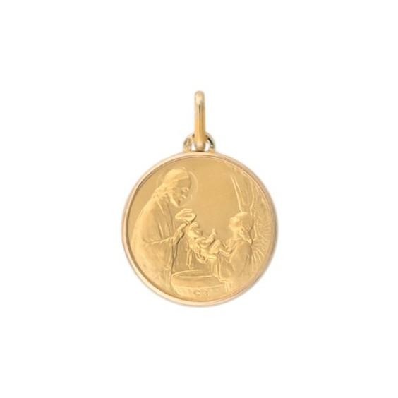Médaille le baptême - 16 mm - Or 9 carats jaune - La Petite Française