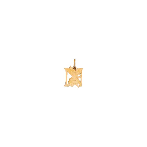 Pendentif ange lettre N Or 9 carats jaune - La Petite Française