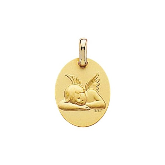 Médaille ovale ange endormi Or 9 carats jaune - La Petite Française