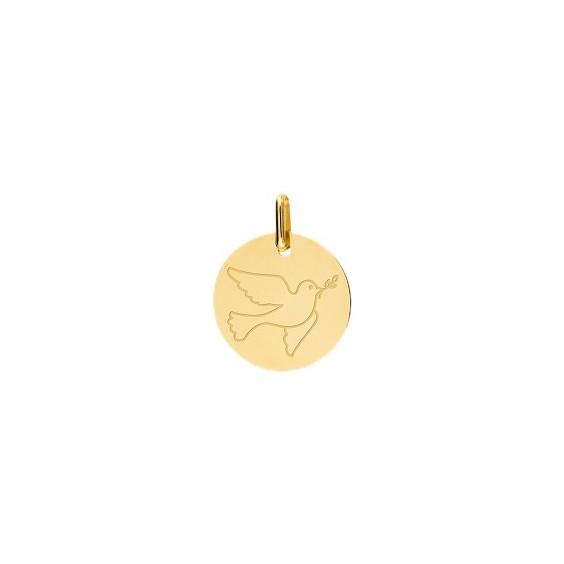 Médaille colombe de la paix Or 9 carats jaune - La Petite Française