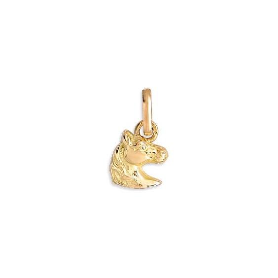 Pendentif tête de cheval Or 9 carats jaune 14 MM - La Petite Française