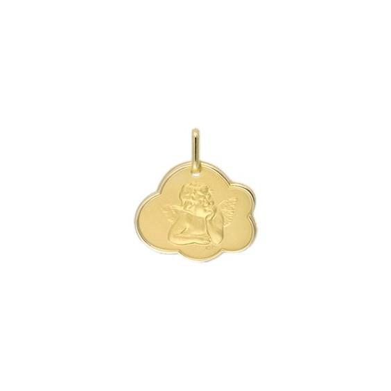 Médaille ange de Raphaël nuage Or 9 carats jaune - La Petite Française