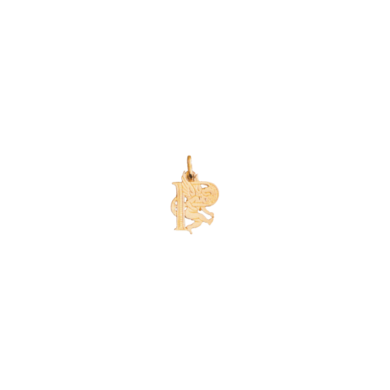 Pendentif ange lettre P Or 9 carats jaune - La Petite Française