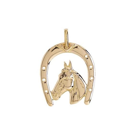 Pendentif fer et tête de cheval Or 9 carats jaune 37 MM - La Petite Française