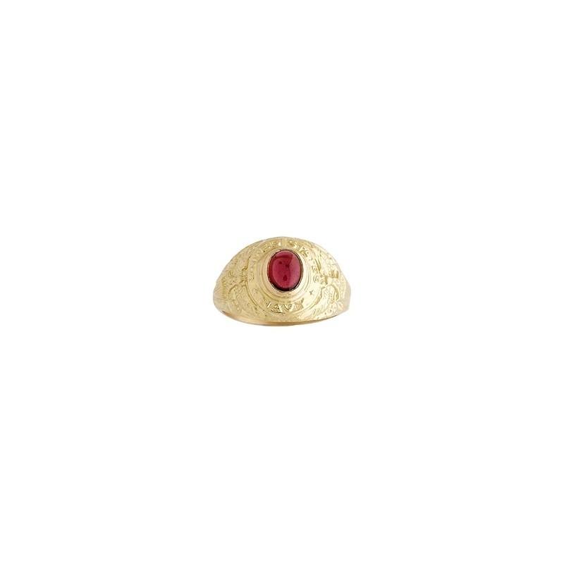 Chevalière Us Navy rhodolite Or 9 carats jaune - La Petite Française