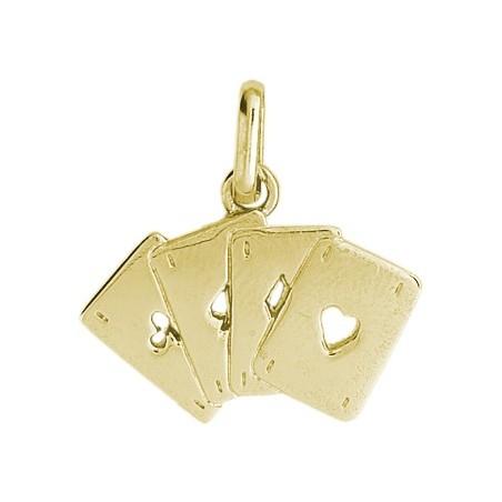Pendentif cartes à jouer 4 as Or 9 carats jaune - La Petite Française