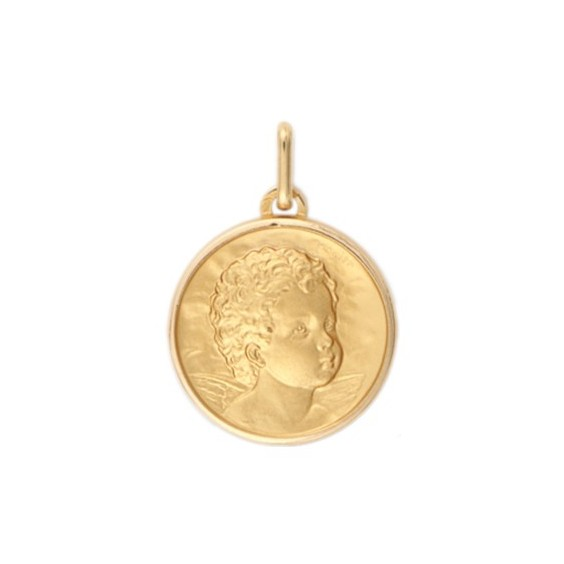 Médaille ange - 17 mm - Or 9 carats jaune - La Petite Française