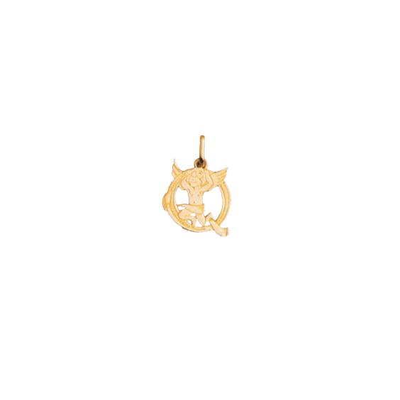 Pendentif ange lettre Q Or 9 carats jaune - La Petite Française