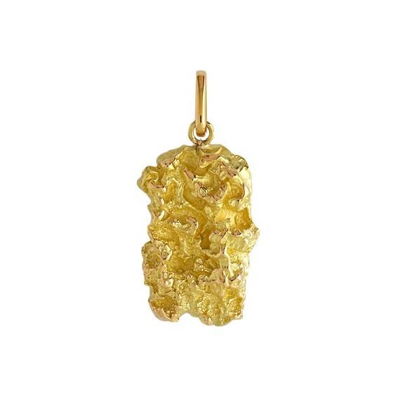 Pendentif pépite Or 9 carats jaune- 40 MM - La Petite Française