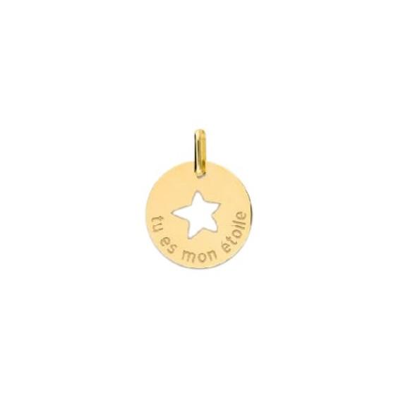 Pendentif tu es mon étoile Or 9 carats jaune - La Petite Française