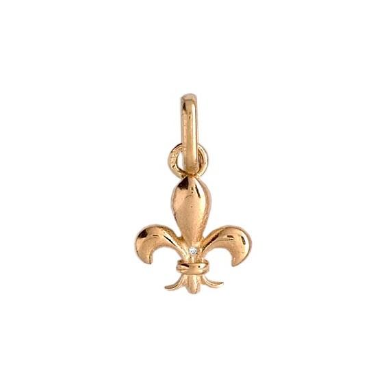 Pendentif Fleur de Lys diamant Or 9 carats jaune  - La Petite Française