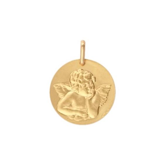 Médaille ange de Raphaël - 15 mm - Or 9 carats jaune - La Petite Française