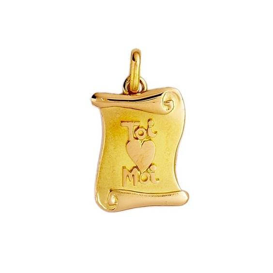 Pendentif parchemin toi, moi et coeur Or 9 carats jaune - La Petite Française