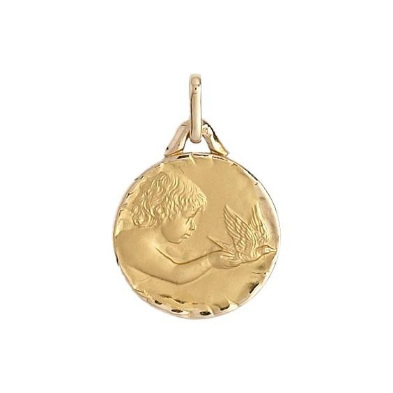 Médaille enfant à la colombe - 16 mm - Or 9 carats jaune - La Petite Française
