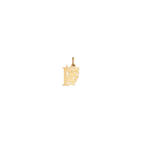 Pendentif ange lettre F Or 9 carats jaune - La Petite Française