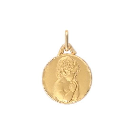 Médaille enfant en prière - 16 mm - Or 9 carats jaune - La Petite Française
