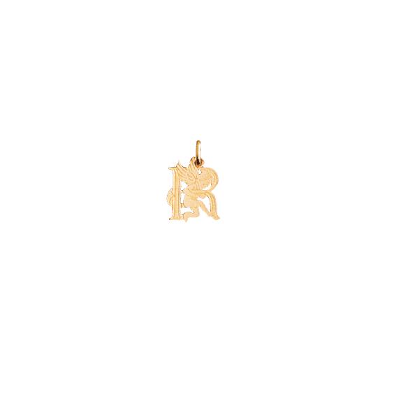Pendentif ange lettre R Or 9 carats jaune - La Petite Française