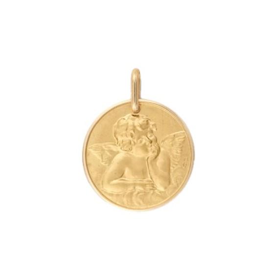 Médaille ange de Raphaël - 17 mm - Or 9 carats jaune - La Petite Française