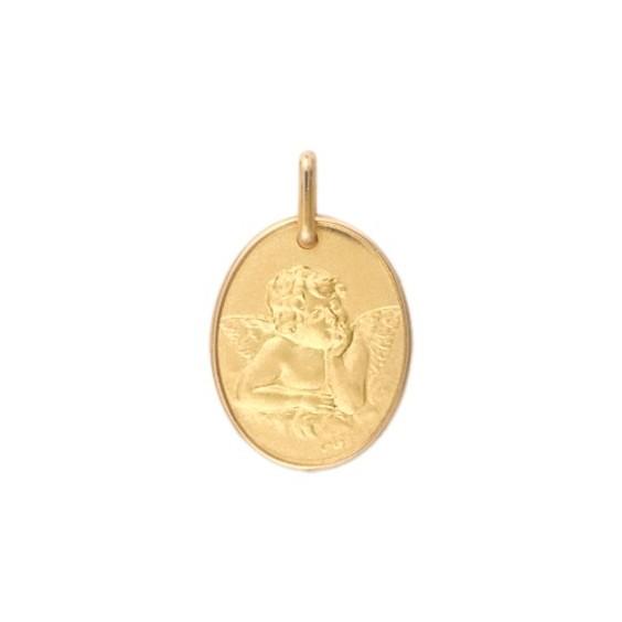 Médaille ovale ange de Raphaël Or 9 carats jaune - La Petite Française