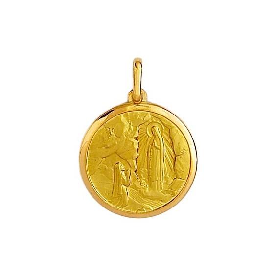 Médaille Sainte Bernadette - 15 mm - Or 9 carats jaune - La Petite Française