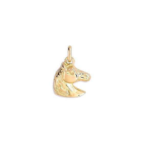Pendentif tête de cheval Or 9 carats jaune 19 MM - La Petite Française