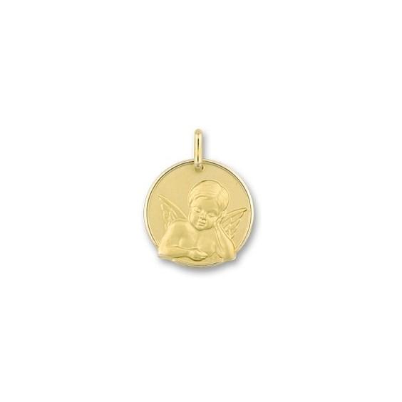 Médaille ange rêveur - 17 mm - Or 9 carats jaune - La Petite Française