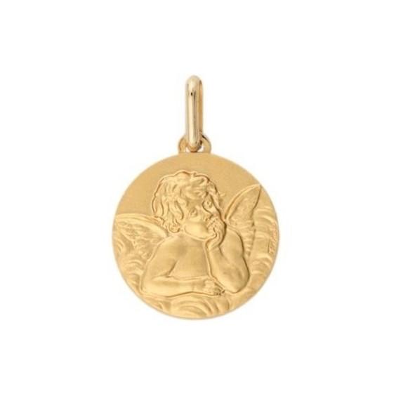 Médaille ange de Raphaël - 14 mm - Or 9 carats jaune - La Petite Française