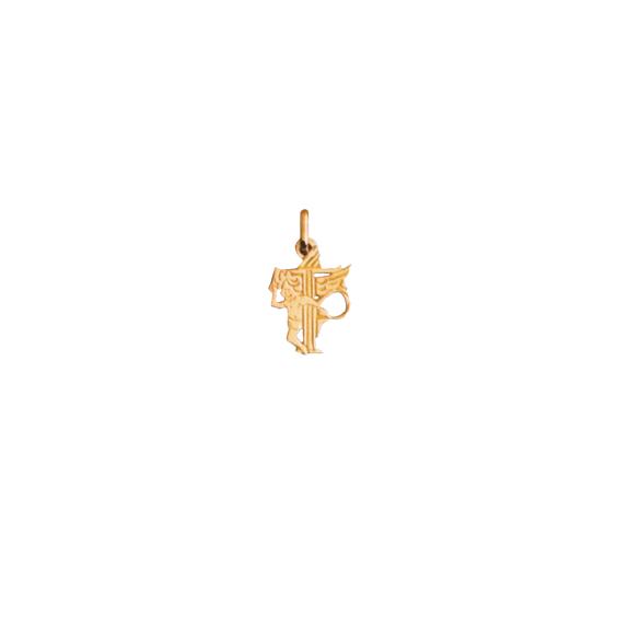 Pendentif ange lettre T Or 9 carats jaune - La Petite Française