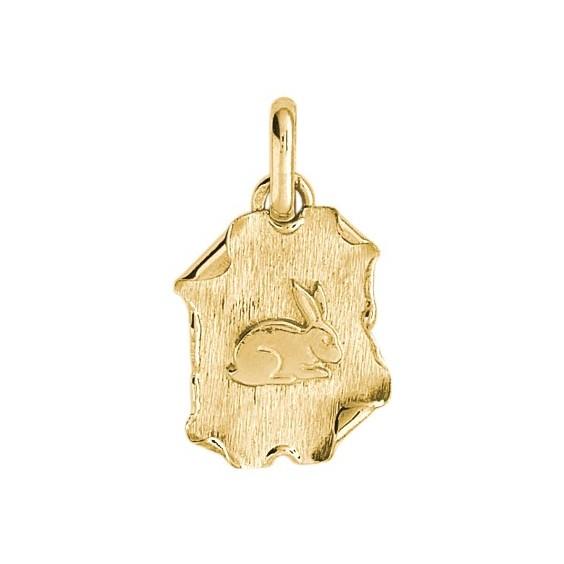 Médaille lapin parchemin Or 9 carats jaune - La Petite Française