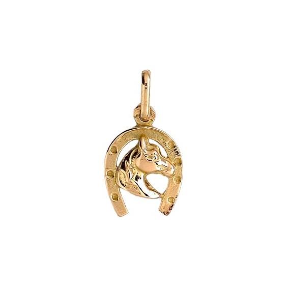 Pendentif fer et tête de cheval Or 9 carats jaune 20 MM - La Petite Française