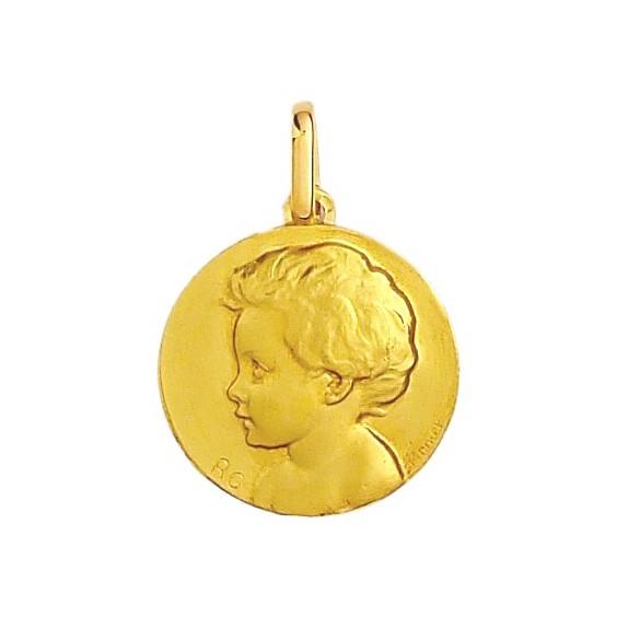 Médaille enfant - 20 mm - Or 9 carats  jaune - La Petite Française
