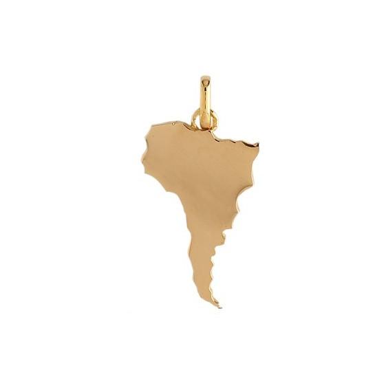 Pendentif carte Amérique Latine Or 9 carats jaune - La Petite Française