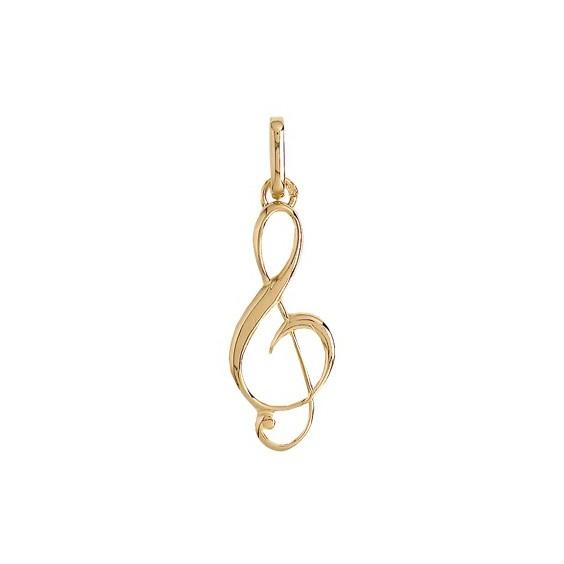Pendentif clef de sol Or 9 carats jaune - La Petite Française