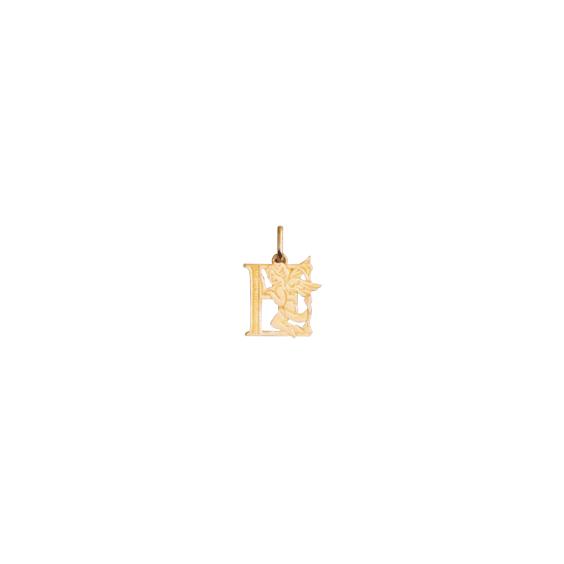 Pendentif ange lettre E Or 9 carats jaune - La Petite Française