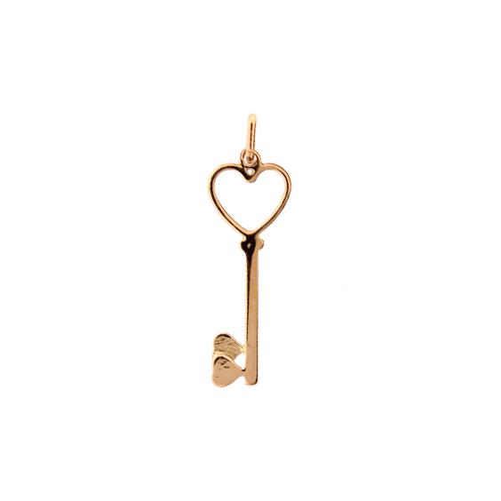 Pendentif clef 2 coeurs Or 9 carats jaune - La Petite Française