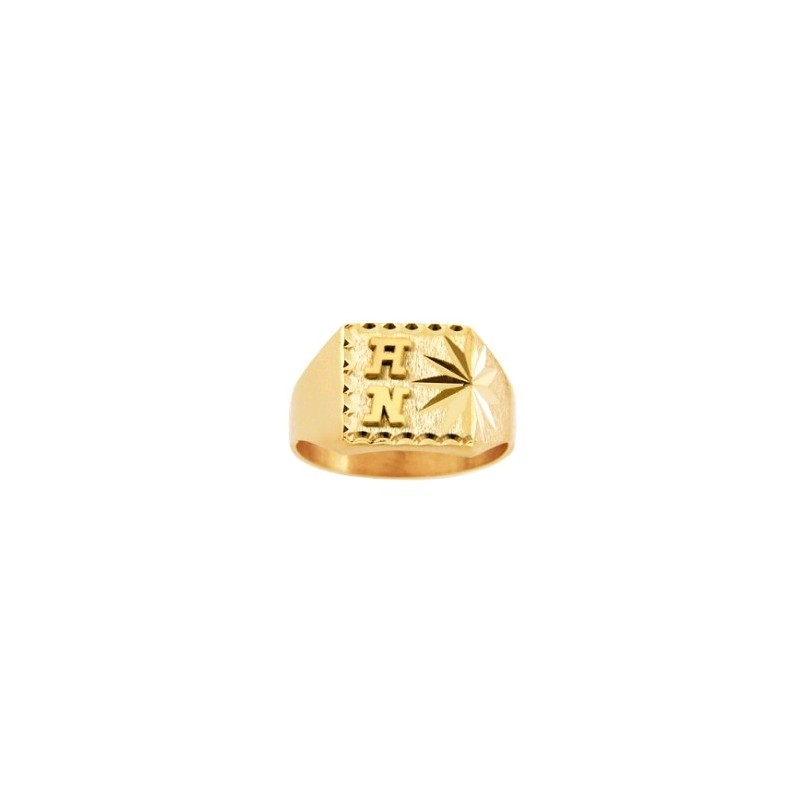 Chevalière Initiales Haldor Or 9 carats jaune - La Petite Française
