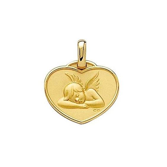 Médaille ange Raphaël coeur Or 9 carats jaune - La Petite Française