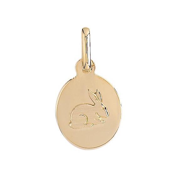 Médaille lapin ovale Or 9 carats jaune - La Petite Française