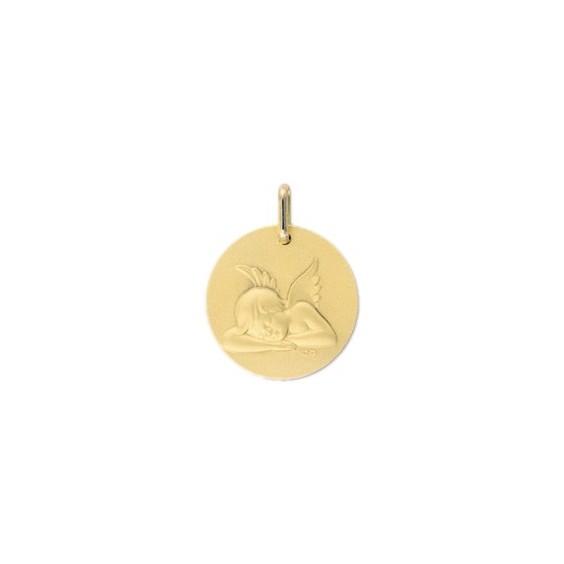 Médaille ange endormi - 17 mm -  Or 9 carats jaune - La Petite Française