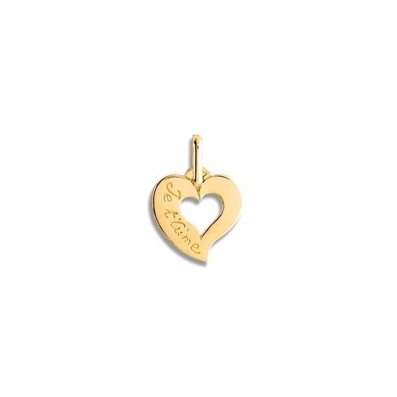 Pendentif coeur je t'aime Or 9 carats jaune - La Petite Française