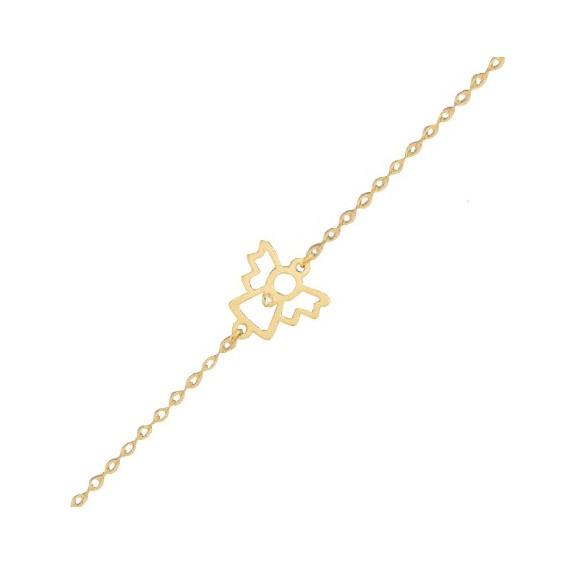 Bracelet ange découpé diamant en Or 9 carats jaune - La Petite Française