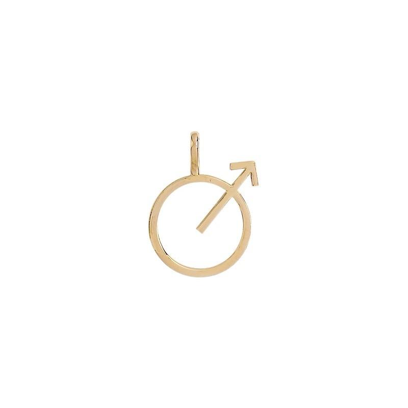 Pendentif symbole masculin or 9 carats jaune - La Petite Française