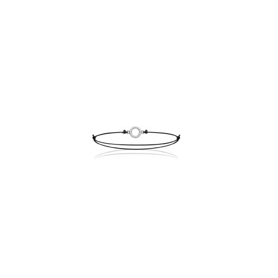 Bracelet cordon anneau strass argent - La Petite Française