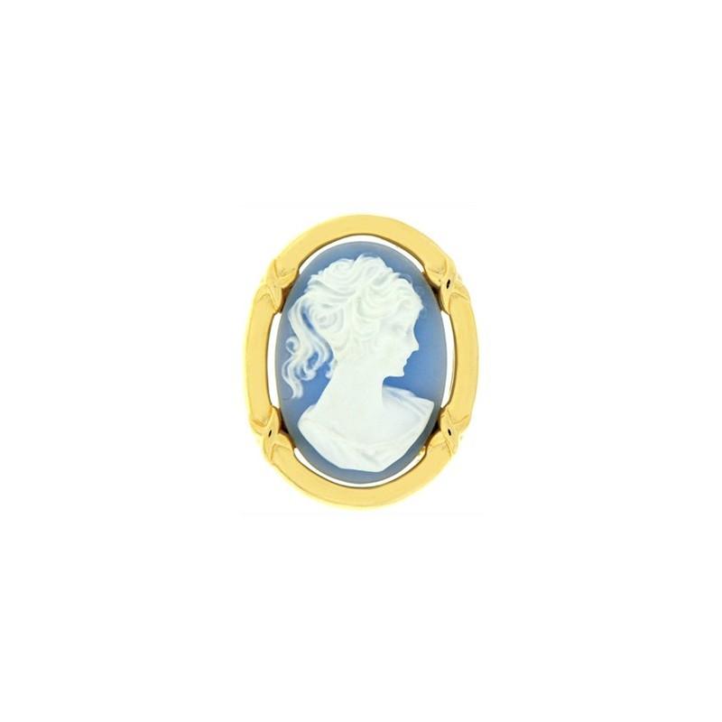 Broche camée bleu plaqué or